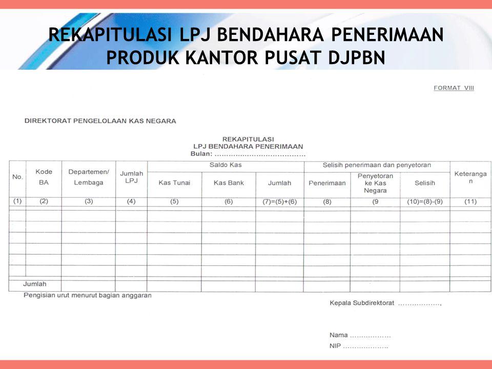 REKAPITULASI LPJ BENDAHARA PENERIMAAN PRODUK KANTOR PUSAT DJPBN 64