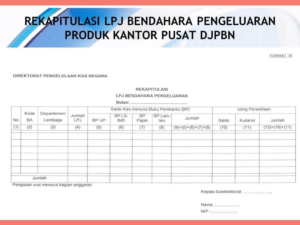 REKAPITULASI LPJ BENDAHARA PENGELUARAN PRODUK KANTOR PUSAT DJPBN 65