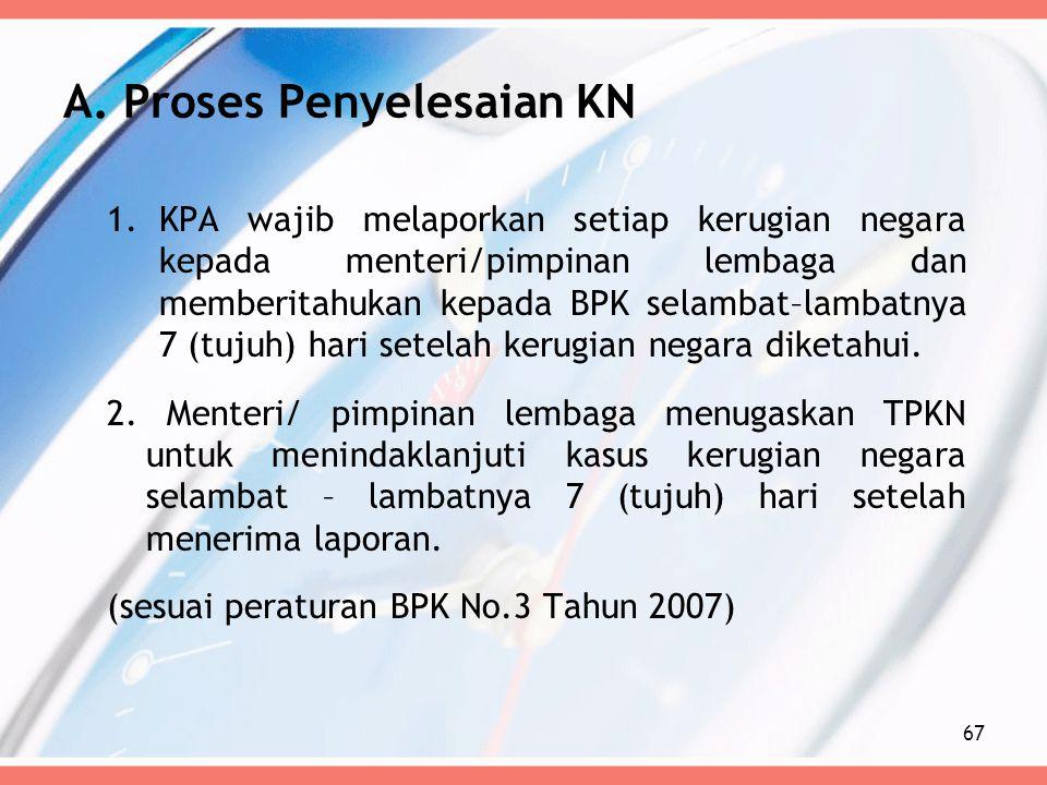 1.KPA wajib melaporkan setiap kerugian negara kepada menteri/pimpinan lembaga dan memberitahukan kepada BPK selambat–lambatnya 7 (tujuh) hari setelah