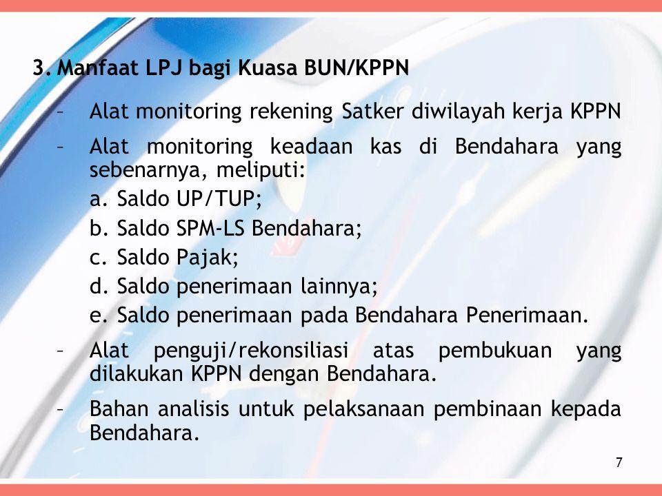 3.Manfaat LPJ bagi Kuasa BUN/KPPN –Alat monitoring rekening Satker diwilayah kerja KPPN –Alat monitoring keadaan kas di Bendahara yang sebenarnya, mel