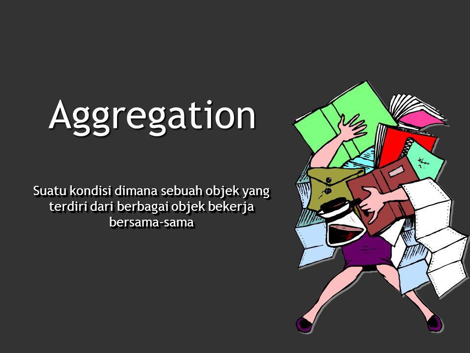 Aggregation Suatu kondisi dimana sebuah objek yang terdiri dari berbagai objek bekerja bersama-sama
