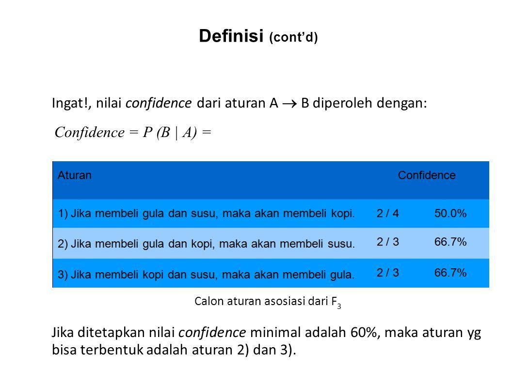 Ingat!, nilai confidence dari aturan A  B diperoleh dengan: Confidence = P (B   A) = Calon aturan asosiasi dari F 3 Jika ditetapkan nilai confidence
