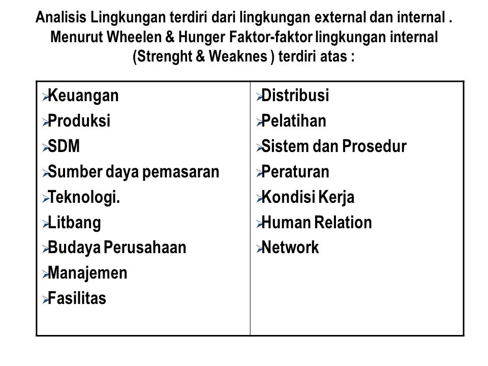Analisis Lingkungan terdiri dari lingkungan external dan internal. Menurut Wheelen & Hunger Faktor-faktor lingkungan internal (Strenght & Weaknes ) te