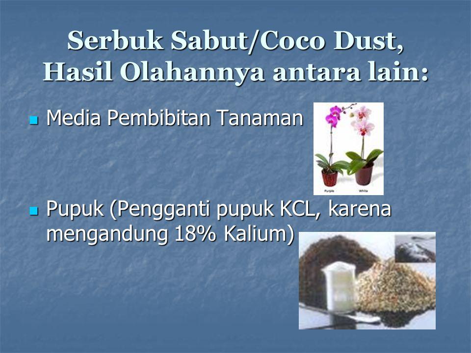 Serbuk Sabut/Coco Dust, Hasil Olahannya antara lain: Media Pembibitan Tanaman Media Pembibitan Tanaman Pupuk (Pengganti pupuk KCL, karena mengandung 1