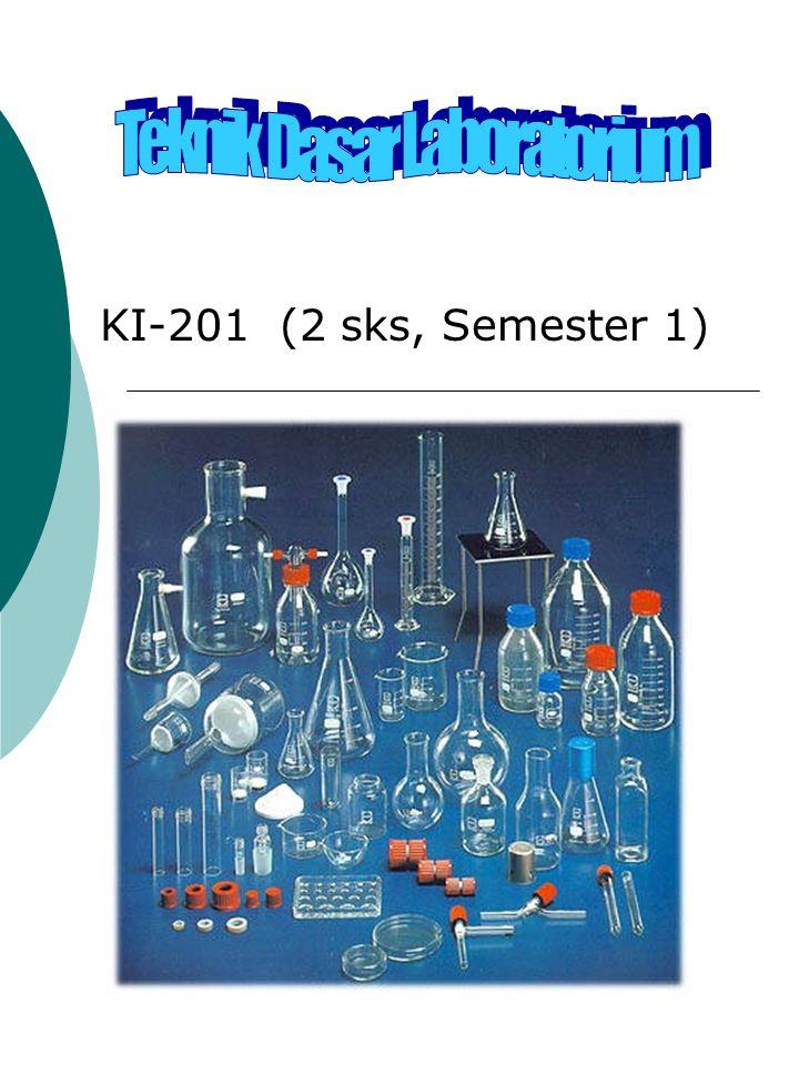 Deskripsi mata kuliah Tujuan Perkuliahan : Laboratorium, alat dasar dan bahan kimia Keselamatan dan kesehatan kerja di laboratorium kimia Teknik dasar laboratorium Kalibrasi alat gelas Memberikan pengetahuan, pemaha- man, dan pengalaman tentang :