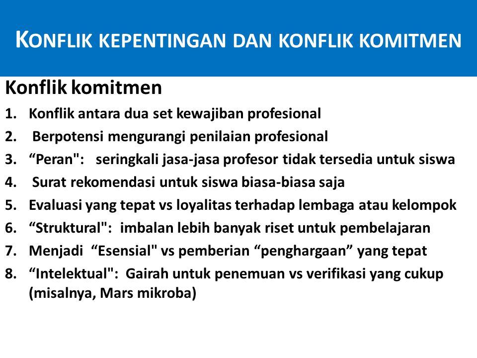 K ONFLIK KEPENTINGAN DAN KONFLIK KOMITMEN Konflik komitmen 1.Konflik antara dua set kewajiban profesional 2.