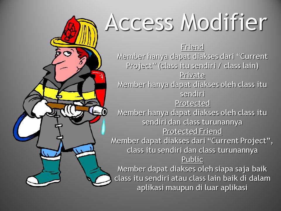 "Friend Member hanya dapat diakses dari ""Current Project"" (class itu sendiri / class lain) Private Member hanya dapat diakses oleh class itu sendiri Pr"