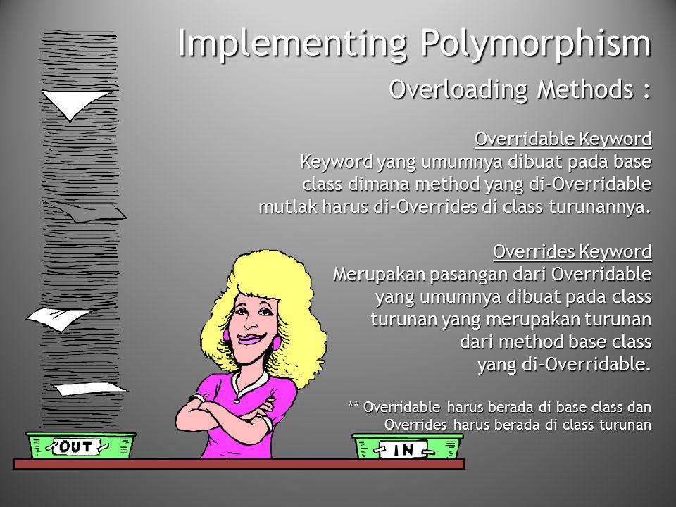 Implementing Polymorphism Overloading Methods : Overridable Keyword Keyword yang umumnya dibuat pada base class dimana method yang di-Overridable mutl