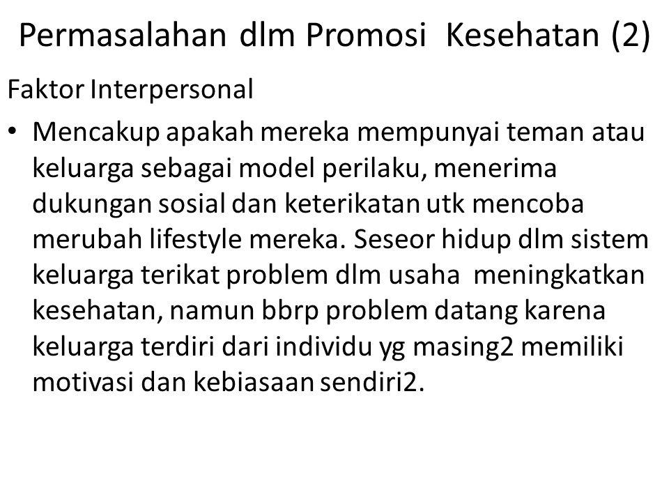 Permasalahan dlm Promosi Kesehatan (2) Faktor Interpersonal Mencakup apakah mereka mempunyai teman atau keluarga sebagai model perilaku, menerima duku