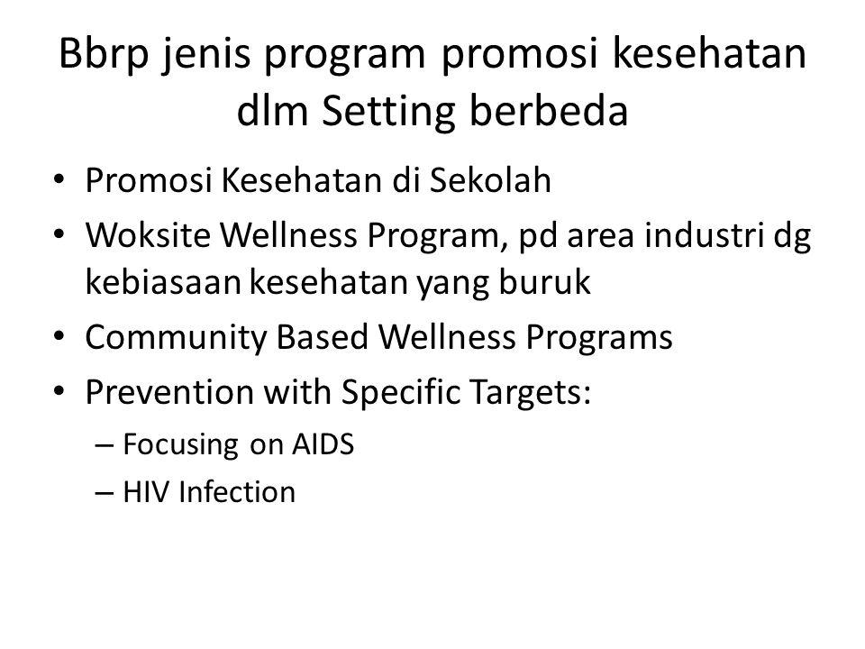 Bbrp jenis program promosi kesehatan dlm Setting berbeda Promosi Kesehatan di Sekolah Woksite Wellness Program, pd area industri dg kebiasaan kesehatan yang buruk Community Based Wellness Programs Prevention with Specific Targets: – Focusing on AIDS – HIV Infection