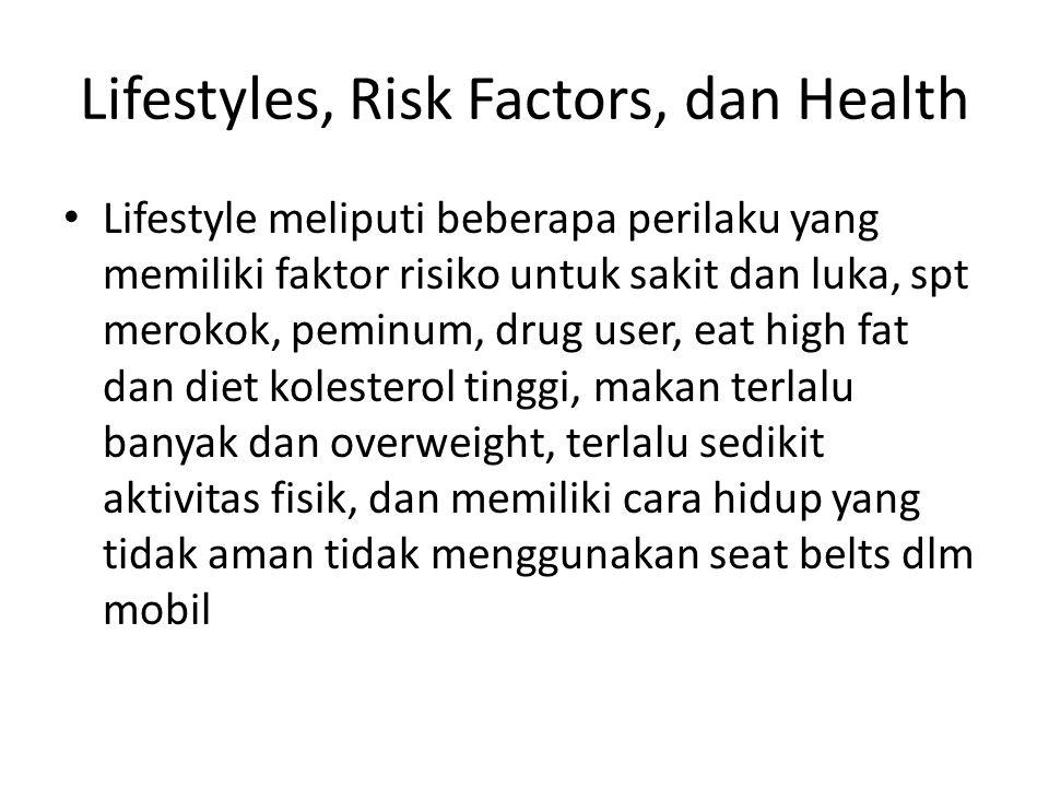Lifestyles, Risk Factors, dan Health Lifestyle meliputi beberapa perilaku yang memiliki faktor risiko untuk sakit dan luka, spt merokok, peminum, drug user, eat high fat dan diet kolesterol tinggi, makan terlalu banyak dan overweight, terlalu sedikit aktivitas fisik, dan memiliki cara hidup yang tidak aman tidak menggunakan seat belts dlm mobil