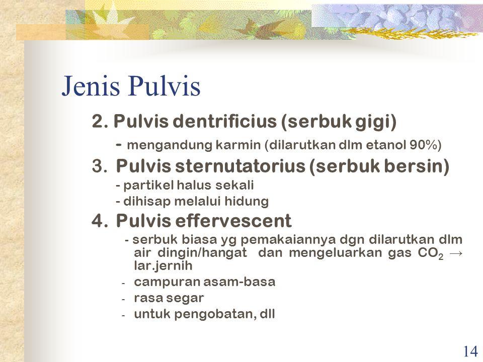 13 Jenis Pulvis 1. Pulvis adspersorius (serbuk tabur) - serbuk ringan - penggunaan topikal - wadah khusus (berlubang diatas) - melewati ayakan 100 mes