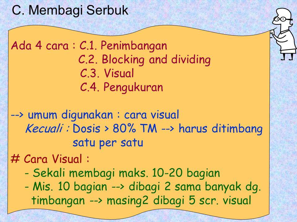 C.Membagi Serbuk Ada 4 cara : C.1. Penimbangan C.2.