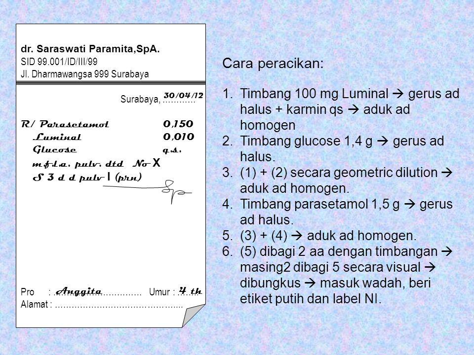 Cara peracikan: 1.Timbang 100 mg Luminal  gerus ad halus + karmin qs  aduk ad homogen 2.Timbang glucose 1,4 g  gerus ad halus.