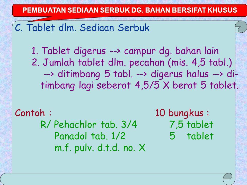 C.Tablet dlm. Sediaan Serbuk 1. Tablet digerus --> campur dg.