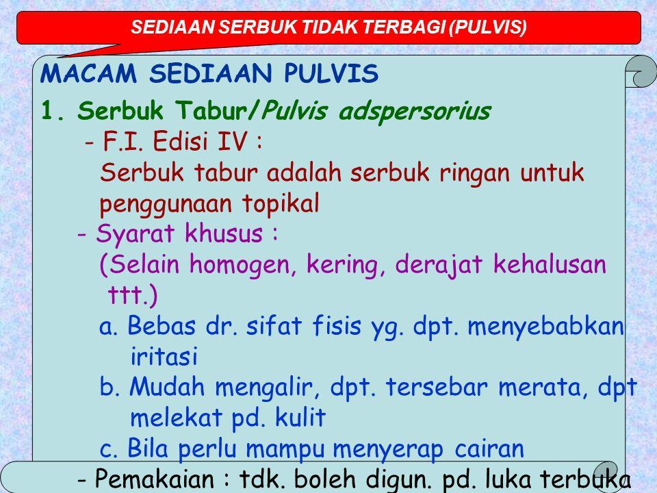 MACAM SEDIAAN PULVIS 1.Serbuk Tabur/Pulvis adspersorius - F.I.
