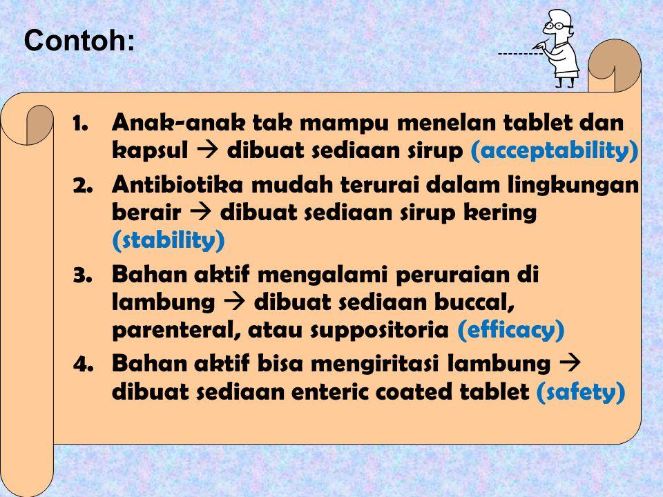 Contoh: 1.Anak-anak tak mampu menelan tablet dan kapsul  dibuat sediaan sirup (acceptability) 2.Antibiotika mudah terurai dalam lingkungan berair  dibuat sediaan sirup kering (stability) 3.Bahan aktif mengalami peruraian di lambung  dibuat sediaan buccal, parenteral, atau suppositoria (efficacy) 4.Bahan aktif bisa mengiritasi lambung  dibuat sediaan enteric coated tablet (safety)
