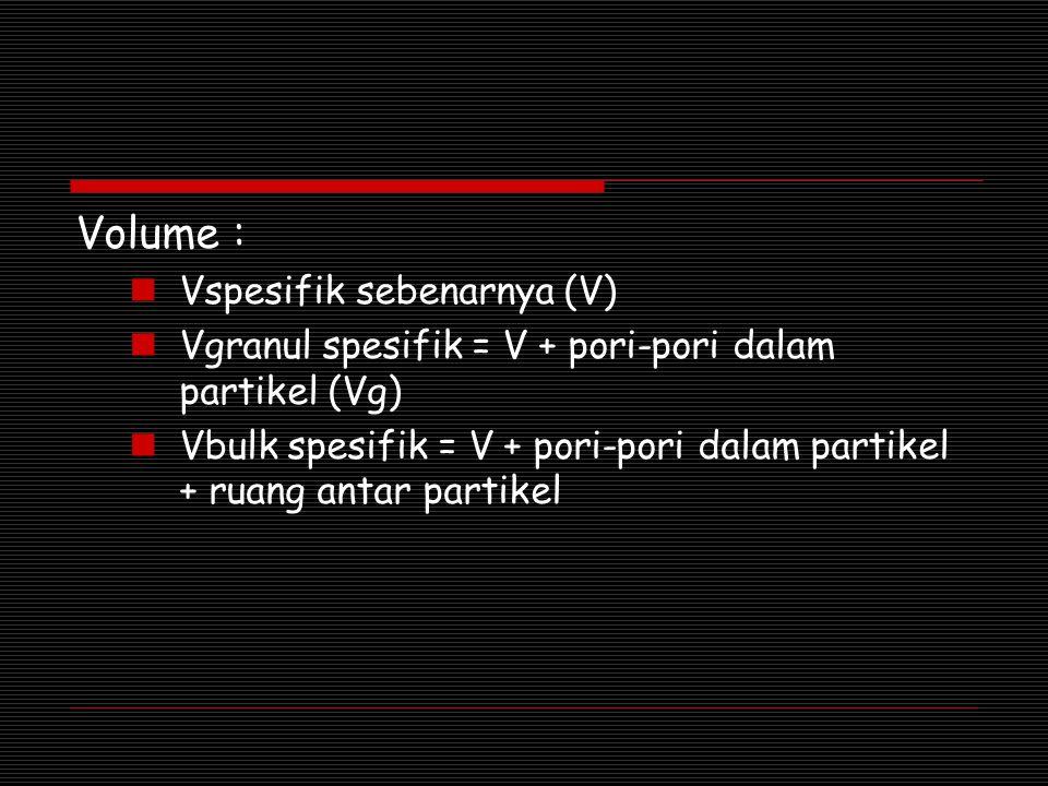 Volume : Vspesifik sebenarnya (V) Vgranul spesifik = V + pori-pori dalam partikel (Vg) Vbulk spesifik = V + pori-pori dalam partikel + ruang antar par
