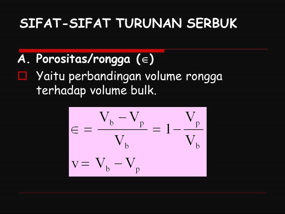SIFAT-SIFAT TURUNAN SERBUK A. Porositas/rongga (  )  Yaitu perbandingan volume rongga terhadap volume bulk.