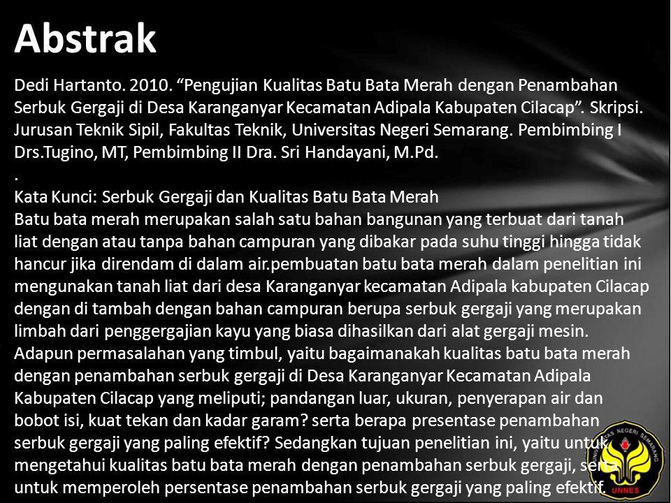 Abstrak Dedi Hartanto. 2010.