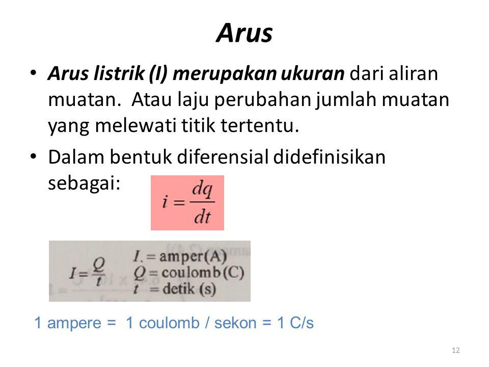 Arus Arus listrik (I) merupakan ukuran dari aliran muatan. Atau laju perubahan jumlah muatan yang melewati titik tertentu. Dalam bentuk diferensial di