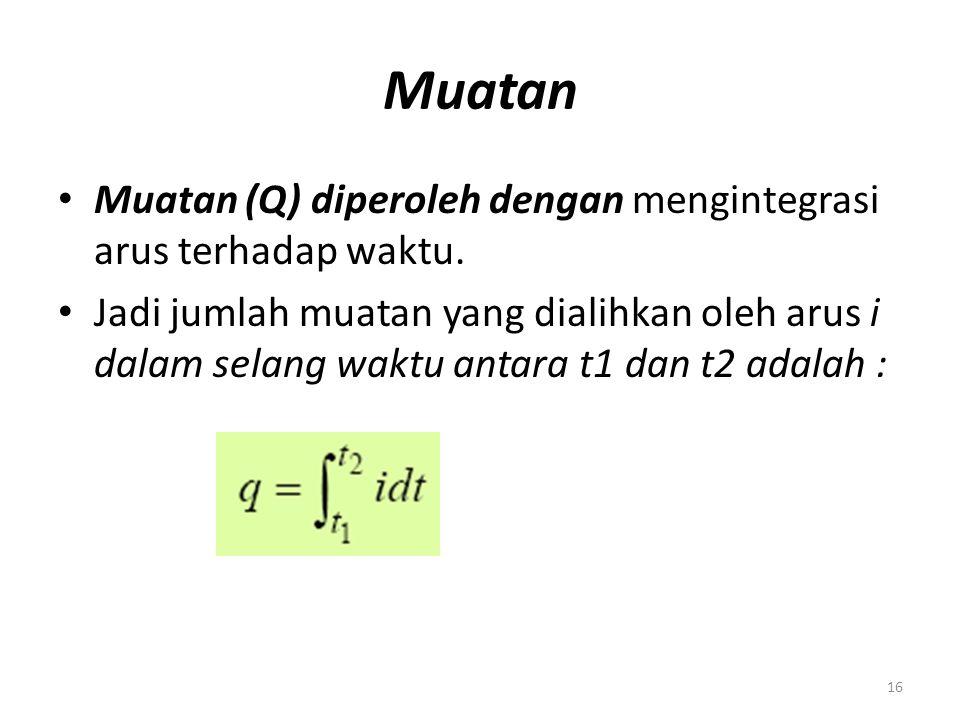 Muatan Muatan (Q) diperoleh dengan mengintegrasi arus terhadap waktu. Jadi jumlah muatan yang dialihkan oleh arus i dalam selang waktu antara t1 dan t
