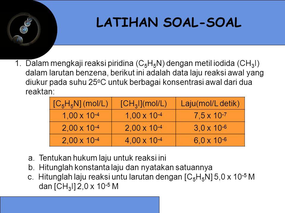 1.Dalam mengkaji reaksi piridina (C 5 H 5 N) dengan metil iodida (CH 3 I) dalam larutan benzena, berikut ini adalah data laju reaksi awal yang diukur