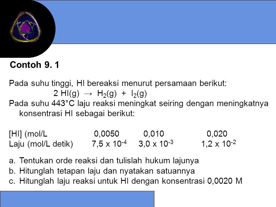 Penyelesaian 1.Laju reaksi = k [OH - ] [CH 4 ] karena [OH - ] konstan maka konstanta laju reaksi = k' laju reaksi menjadi = k' [CH 4 ]; dan k' = k [OH - ] k' = (6,3 x 10 -15 mol/L detik) (1,2 x 10 6 mol/L) = 7,6 x 10 -9 detik -1 2.t ½ = 0,693/k' = 0,693/ 7,6 x 10 -9 detik -1 = 2 tahun 11 bulan