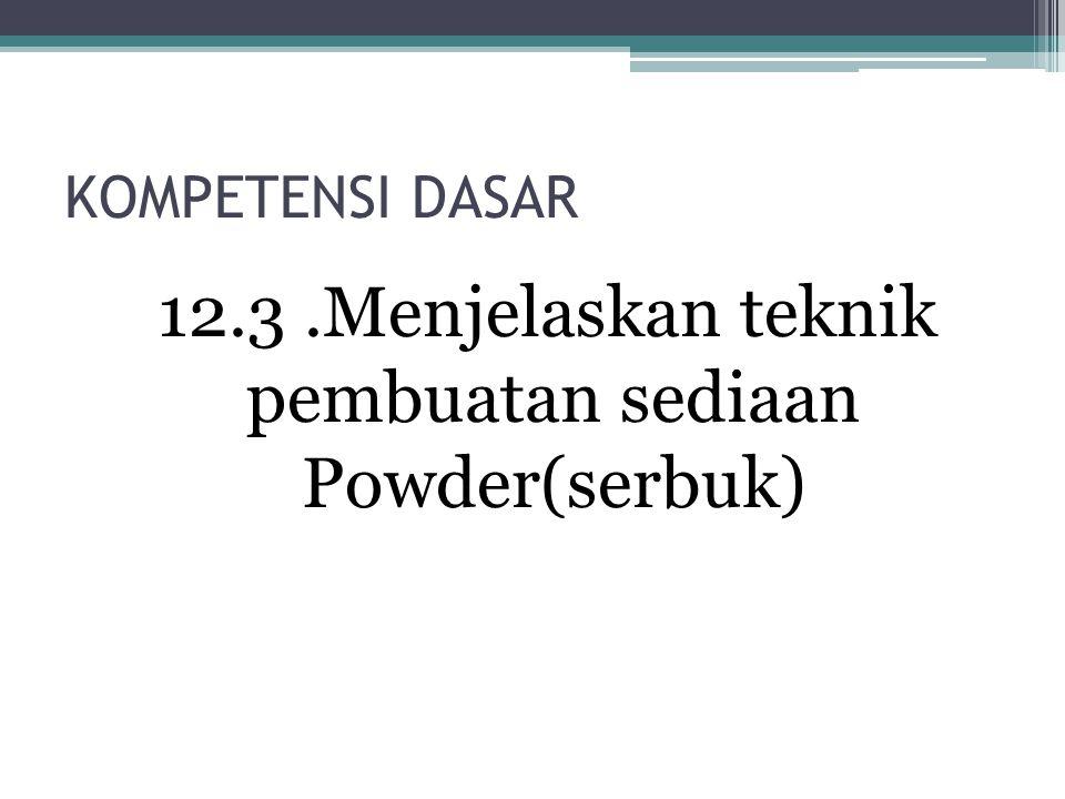 KOMPETENSI DASAR 12.3.Menjelaskan teknik pembuatan sediaan Powder(serbuk)