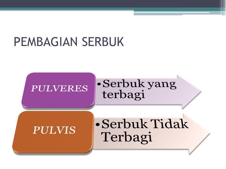 PENGERTIAN Pulvis (serbuk) adalah campuran kering bahan obat atau zat kimia yang dihaluskan, ditujukan untuk pemakaian oral atau pemakaian luar.