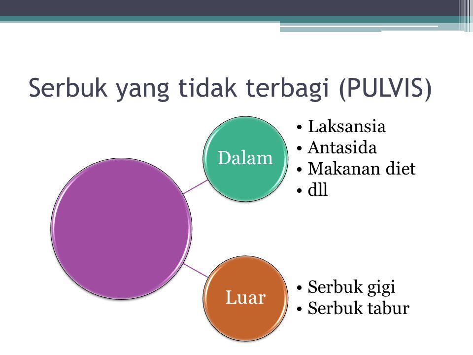 Pulvis adspersorius: sediaan serbuk bebas dari butiran kasar dan utk obat luar.