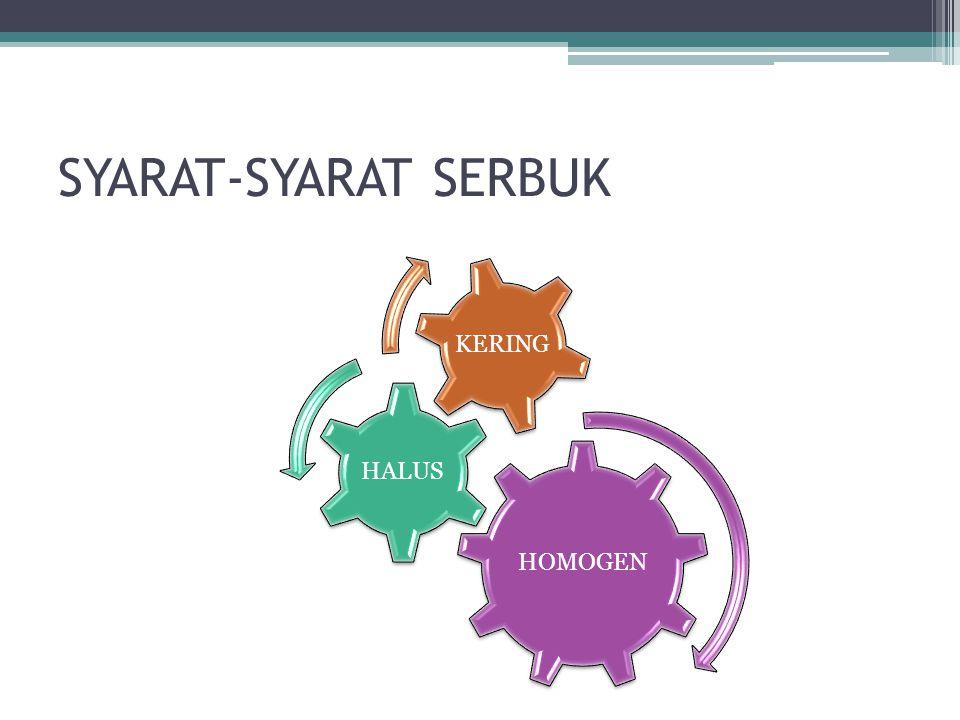 SYARAT-SYARAT SERBUK HOMOGEN HALUS KERING