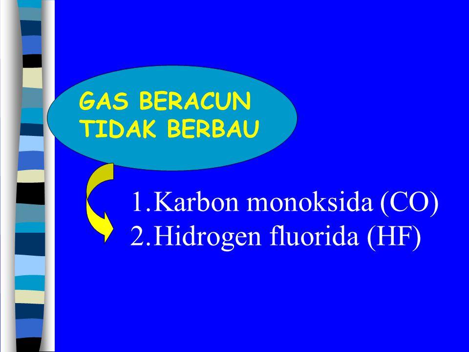 GAS BERACUN TIDAK BERBAU 1.Karbon monoksida (CO) 2.Hidrogen fluorida (HF)