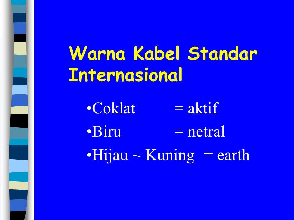Warna Kabel Standar Internasional Coklat= aktif Biru= netral Hijau ~ Kuning= earth