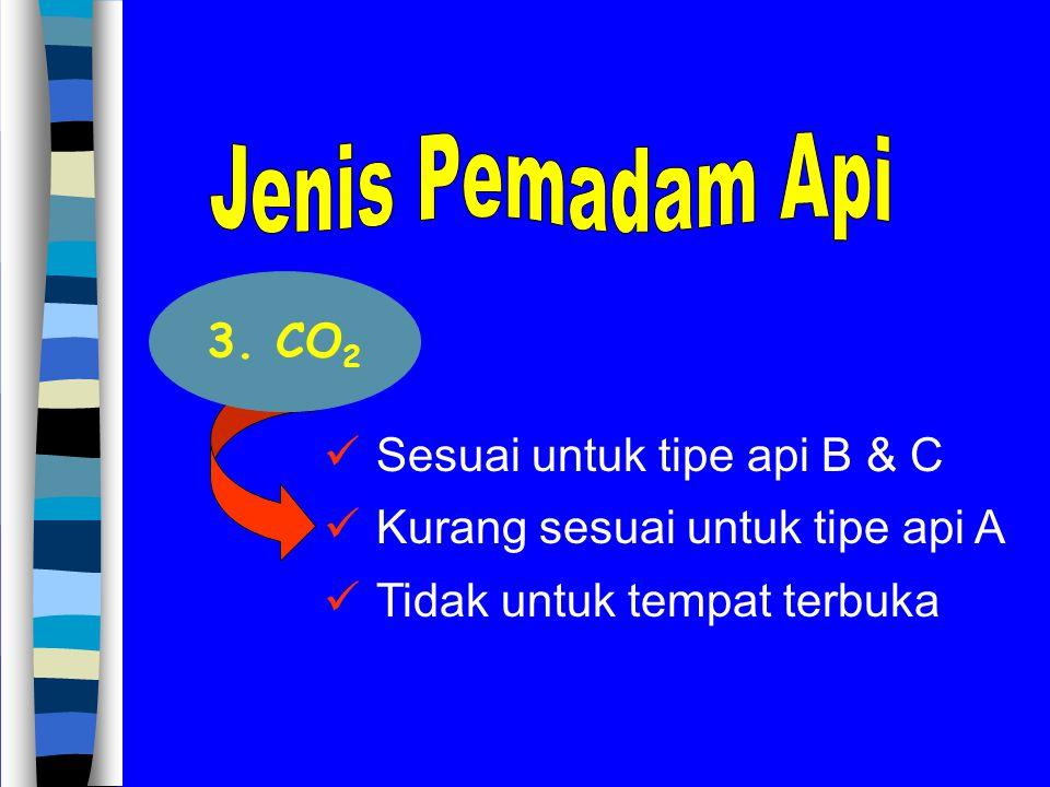 Sesuai untuk tipe api B & C Kurang sesuai untuk tipe api A Tidak untuk tempat terbuka 3. CO 2