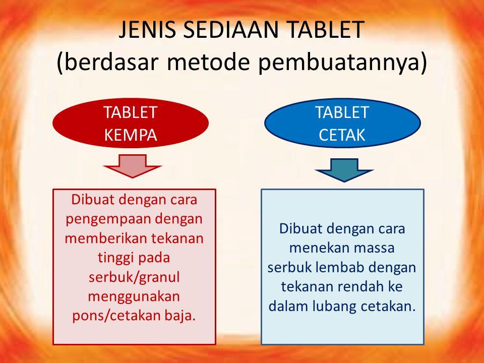 JENIS SEDIAAN TABLET (berdasar metode pembuatannya) TABLET KEMPA TABLET CETAK Dibuat dengan cara pengempaan dengan memberikan tekanan tinggi pada serb