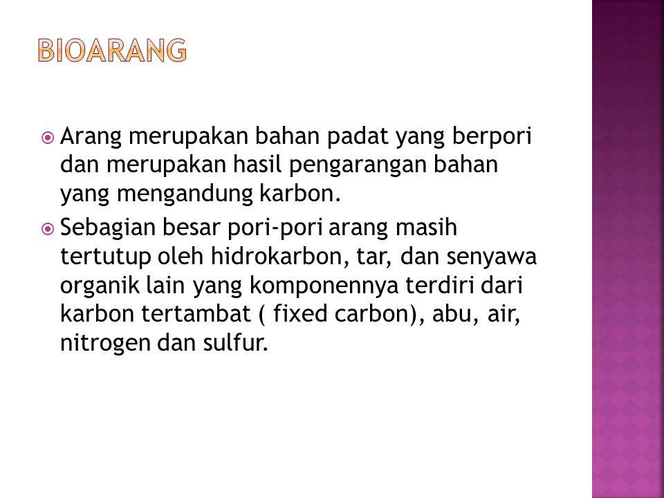  Arang merupakan bahan padat yang berpori dan merupakan hasil pengarangan bahan yang mengandung karbon.  Sebagian besar pori-pori arang masih tertut