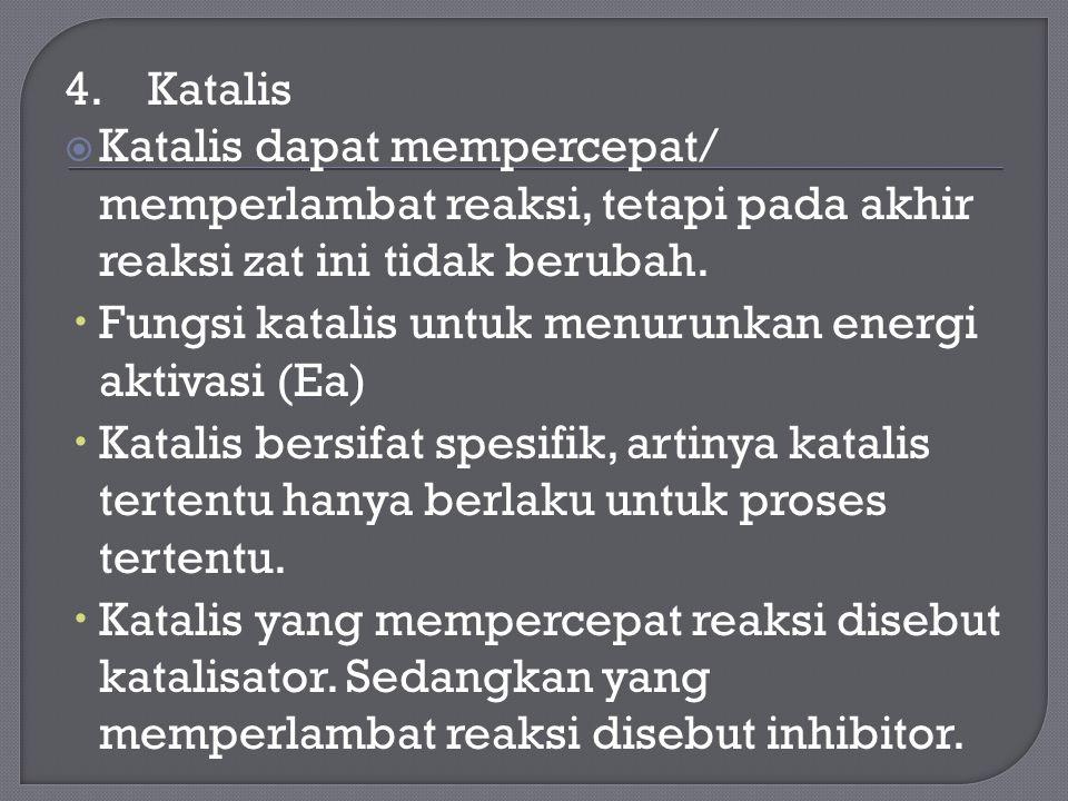 4. Katalis  Katalis dapat mempercepat/ memperlambat reaksi, tetapi pada akhir reaksi zat ini tidak berubah.  Fungsi katalis untuk menurunkan energi