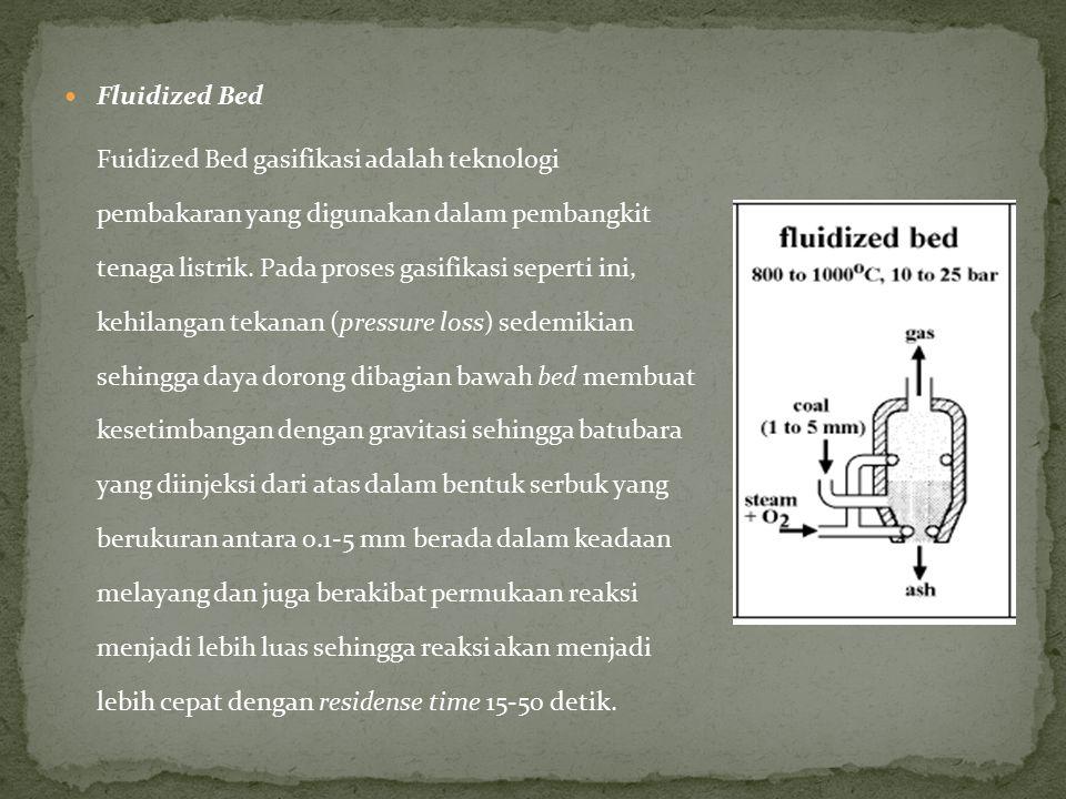 Fluidized Bed Fuidized Bed gasifikasi adalah teknologi pembakaran yang digunakan dalam pembangkit tenaga listrik. Pada proses gasifikasi seperti ini,