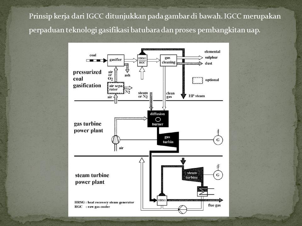 Prinsip kerja dari IGCC ditunjukkan pada gambar di bawah. IGCC merupakan perpaduan teknologi gasifikasi batubara dan proses pembangkitan uap.