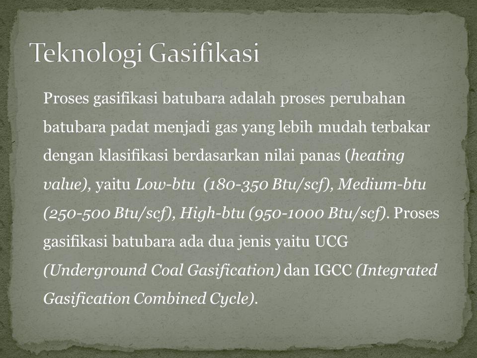 UCG adalah proses gasifikasi batubara secara insitu.