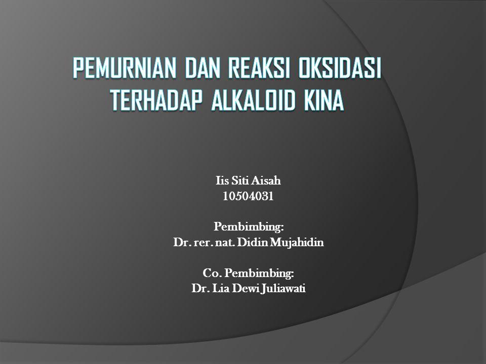 Iis Siti Aisah 10504031 Pembimbing: Dr. rer. nat. Didin Mujahidin Co. Pembimbing: Dr. Lia Dewi Juliawati