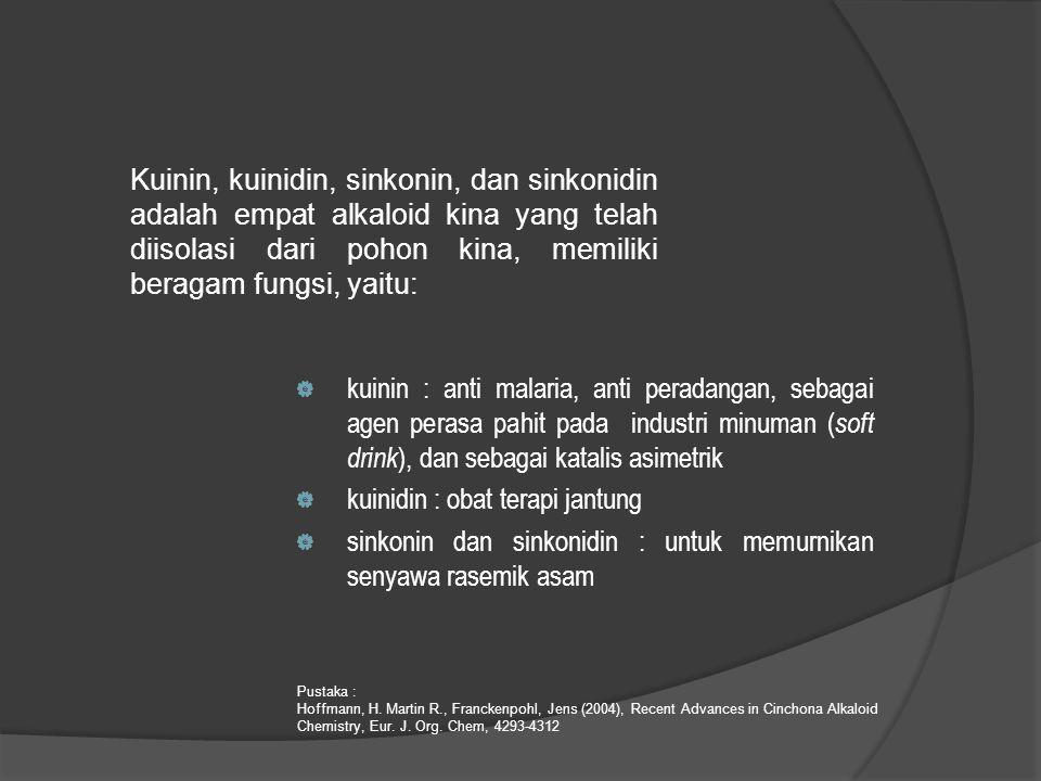 Kuinin, kuinidin, sinkonin, dan sinkonidin adalah empat alkaloid kina yang telah diisolasi dari pohon kina, memiliki beragam fungsi, yaitu:  kuinin :