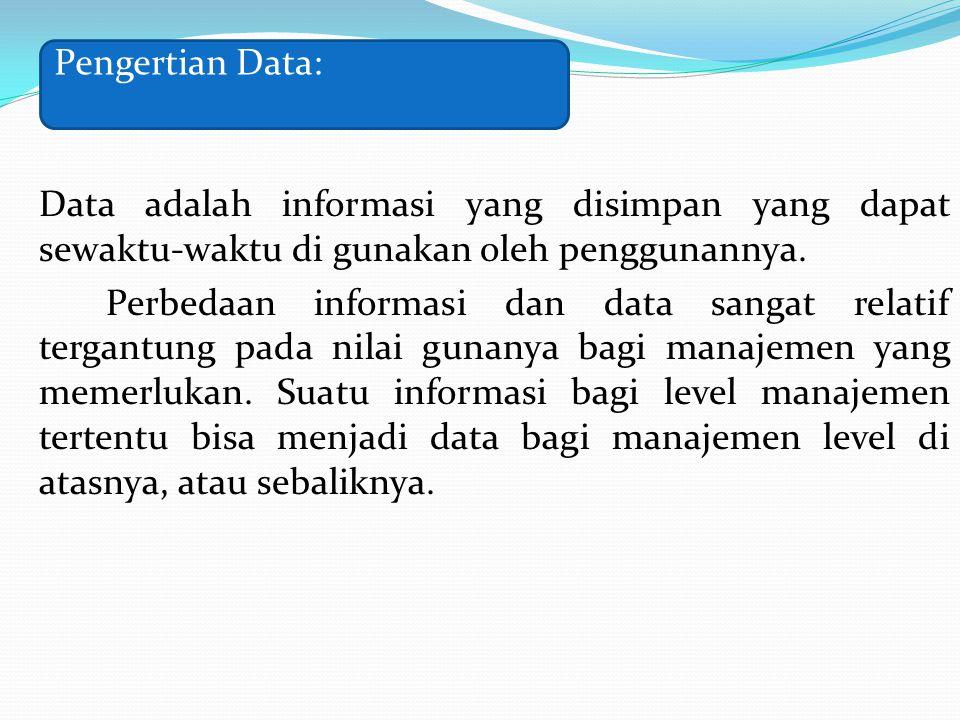 Data adalah informasi yang disimpan yang dapat sewaktu-waktu di gunakan oleh penggunannya. Perbedaan informasi dan data sangat relatif tergantung pada