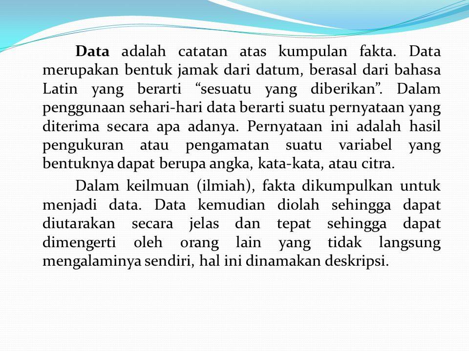 """Data adalah catatan atas kumpulan fakta. Data merupakan bentuk jamak dari datum, berasal dari bahasa Latin yang berarti """"sesuatu yang diberikan"""". Dala"""