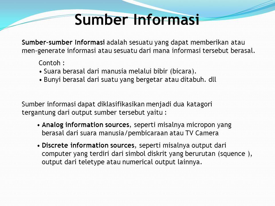 Sumber–sumber Informasi adalah sesuatu yang dapat memberikan atau men-generate informasi atau sesuatu dari mana informasi tersebut berasal. Sumber Inf