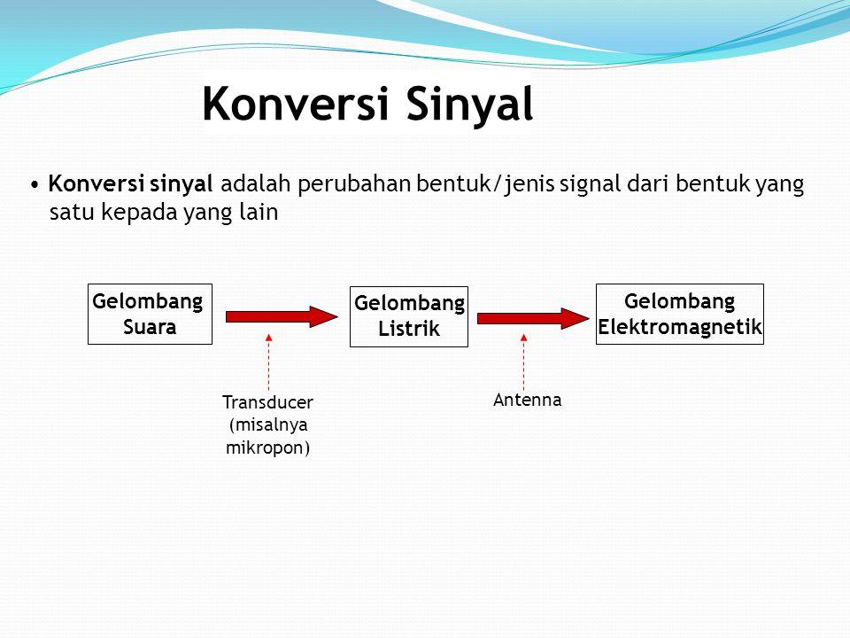 Konversi Sinyal Konversi sinyal adalah perubahan bentuk/jenis signal dari bentuk yang satu kepada yang lain Antenna Transducer (misalnya mikropon) Gel