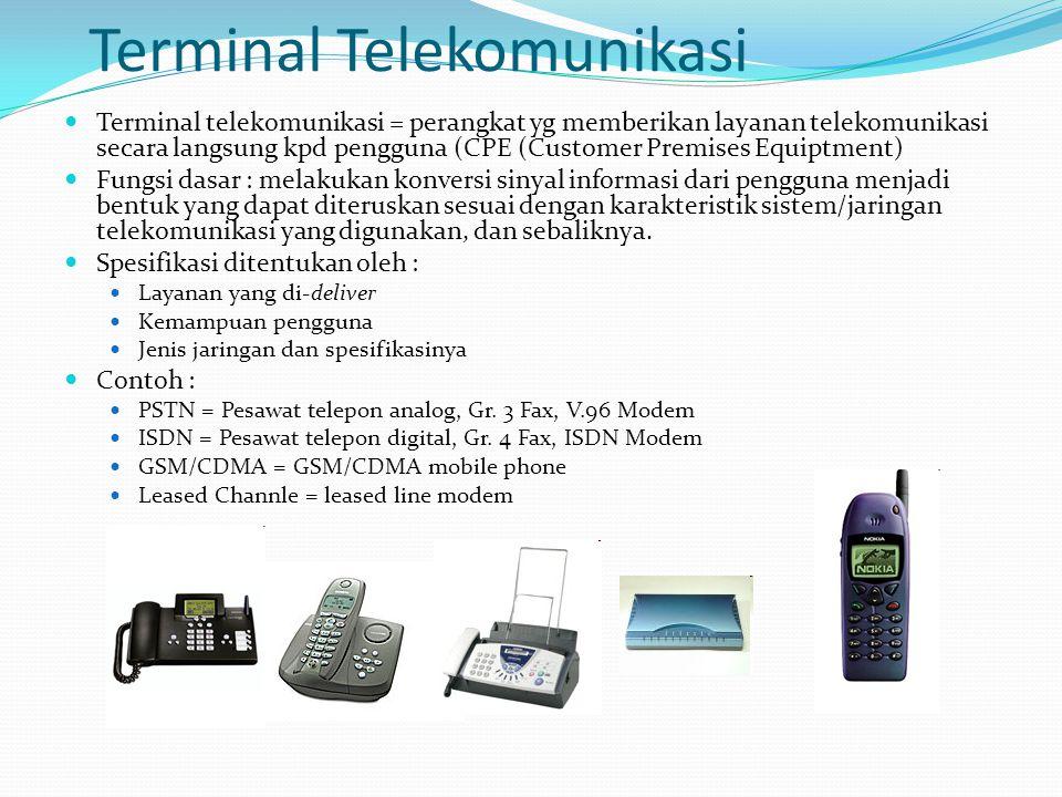 Terminal Telekomunikasi Terminal telekomunikasi = perangkat yg memberikan layanan telekomunikasi secara langsung kpd pengguna (CPE (Customer Premises