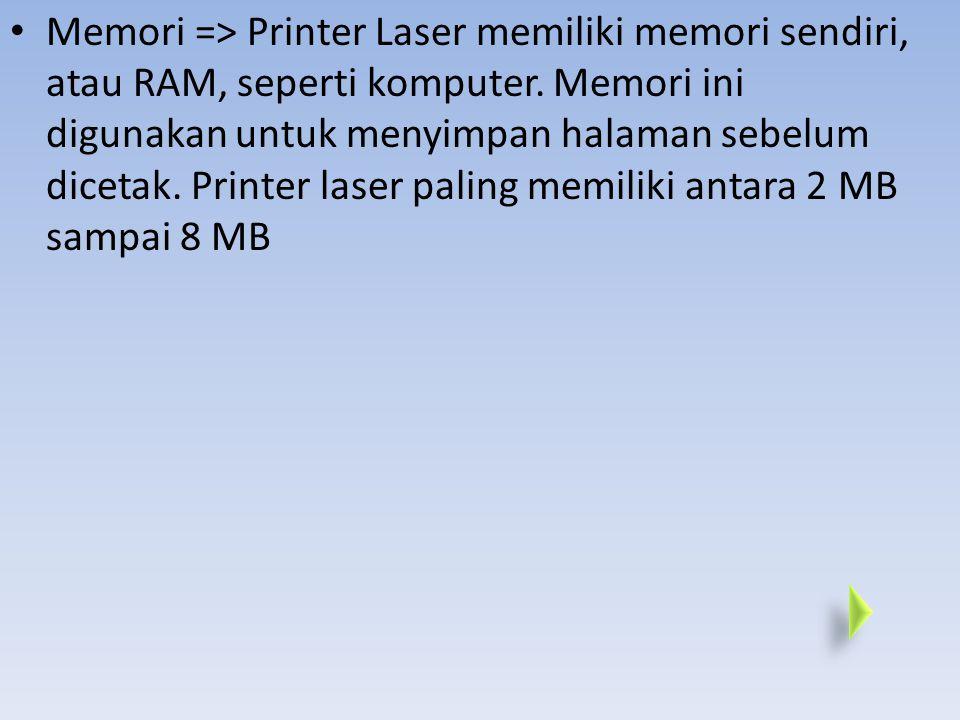 Printer adalah perangkat output yang mencetak teks dan gambar pada kertas. Tipe Printer yang paling umum adalah Inkjet dan Laser printer. Resolusi pri