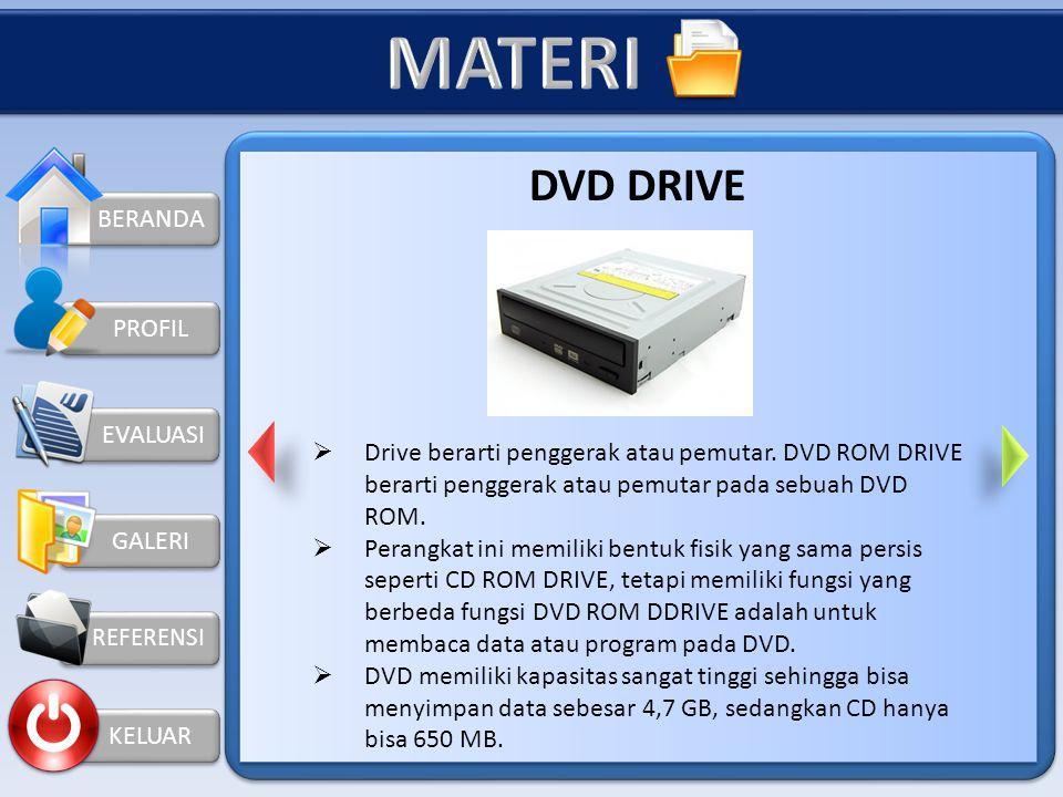 BERANDA KELUAR PROFIL CD ROM DRIVE  CD ROM DRIVE adalah salah satu perangkat keras computer yang berfungsi untuk membaca data dalam bentuk Compact Di
